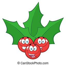 Happy Christmas Holly Berries With Leaves Cartoon Characters