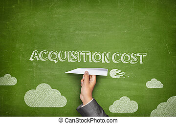 Acquisition cost concept on blackboard with paper plane -...