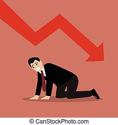 Desperate businessman with graph down Business concept