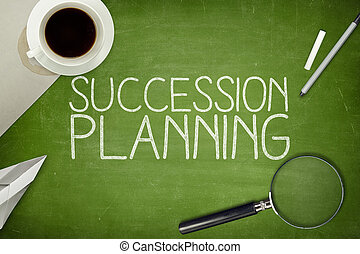 Succession planning concept on blackboard with pen