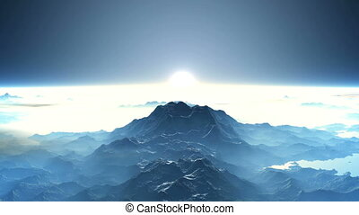 Sunrise over the mountain peaks - A thick white mist and...