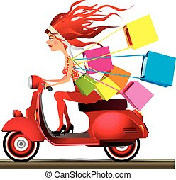 Speed shopping - Girl riding a motorcycle carrying shopping...