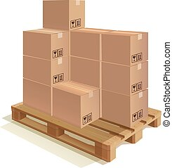 Pallet with boxes - Cardboard boxes set on a wooden pallet