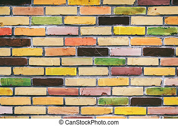 Colorful brick wall pattern