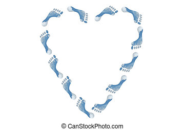 Ecological heart sign in the shape of feet - A heart ade up...