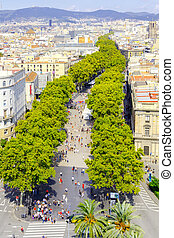 Barcelona Ramblas - View of Barcelona and Las Ramblas with...