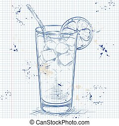 Cocktail Long Island Iced Tea on a notebook page - Cocktail...