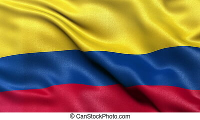 Flag of Colombia seamless loop - Realistic flag of Colombia...