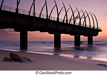 Umhlanga Pier sunrise - Sunrise over Umlanga Pier with small...