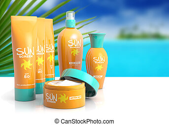 collection of sunscreen on white table with tropical...