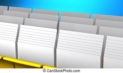 Folders And Documents - Yellow Folders And Documents On Blue...