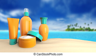 group of sunscreen in a tropical beach