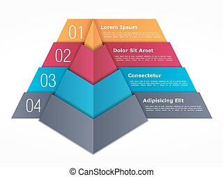 Pyramid Chart - Pyramid whart with four elements, vector...