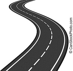 Road - Black asphalt road on white background, vector eps10...