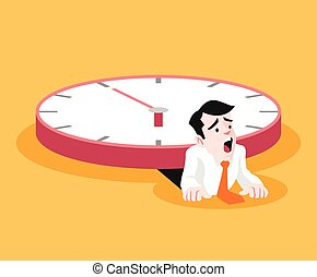 Businessman under the big clock Vector flat illustration