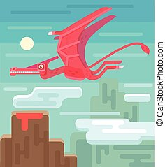 Pterodactyl vector flat illustration