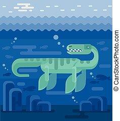 Plesiosaur vector flat illustration