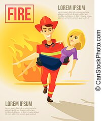 Fireman carrying girl. Vector flat illustration