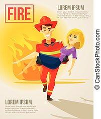 Fireman carrying girl. Vector flat illustration