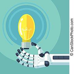 Robot hand holding light bulb