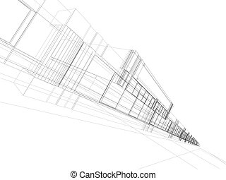 wireframe of office building - 3D rendering wireframe of...