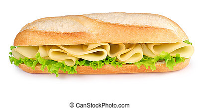 tasty cheese sandwich - cheese and lettuce sub isolated on...