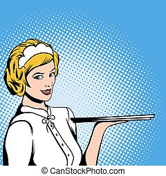 Waitress comics woman - Waitress in comics style for web and...