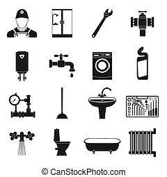 Sanitary engineering simple icons