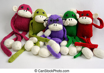 Family, stuffed animal, new year, monkey, funny - Family of...