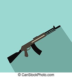 Submachine gun flat icon for web and mobile devices