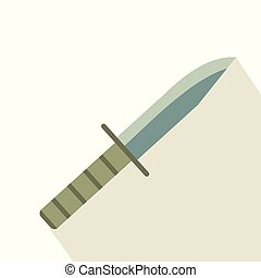 Military knife flat icon