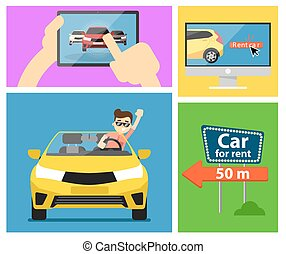 Rental car banners. - Rent a cars and trading Cars in flat...