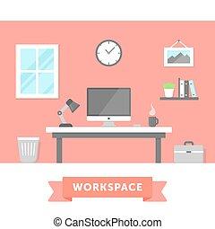 Workspace - Modern workspace flat illustration. Freelancer...