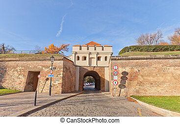 Tabor Gate 1683 of Vysehrad fort in Prague UNESCO site -...