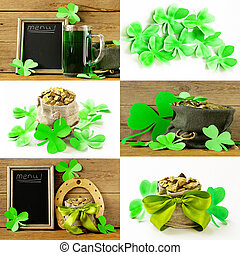 collage symbol of StPatricks Day - green clover leaves and a...