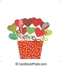 Colorful Sweet heart Cake pops set with bow in a red bucket...