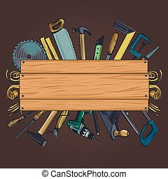 Carpentry woodworks background with Craft Woodwork...