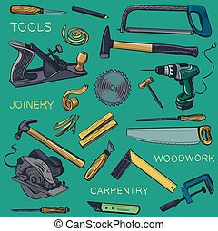 Collection of hand drawn Carpentry, woodworker, joinery...