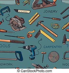 Pattern from various Carpentry, woodworker, joinery tools....