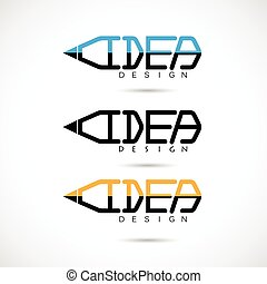 Creative pencil logo design.Concept of ideas inspiration, innovation, invention, effective thinking, knowledge. Business and Education concept.