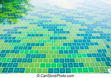 green tile texture background of swimming pool tiles