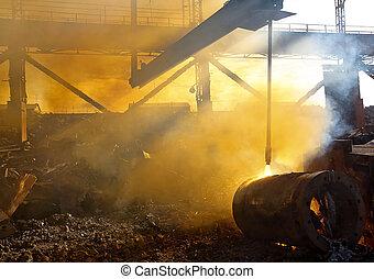 Scrap metal and smoke - photo of scrap metal in the backyard...