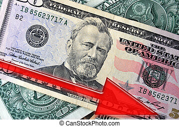 Falling Dollar - Red Arrow over American Dollars indicates...