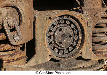 Wheel suspension of railway wagon - Old vintage rusty wheel...