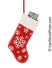 Stocking stuffer - Christmast stocking with present isolated...