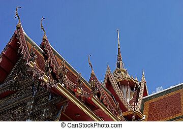 gable apex on temple roof with beautiful sky background