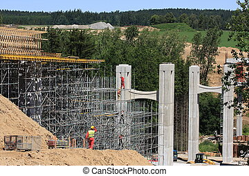 Construction of the bridge and scaffolding, Czech Republic
