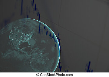 Earth with financial data