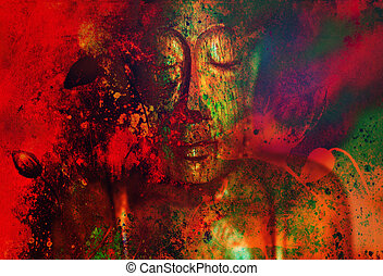buddha and flower, abstract background. computer collage painting. Religion concept.