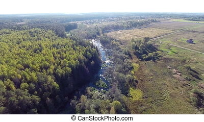 Forest - Flying over river and forest